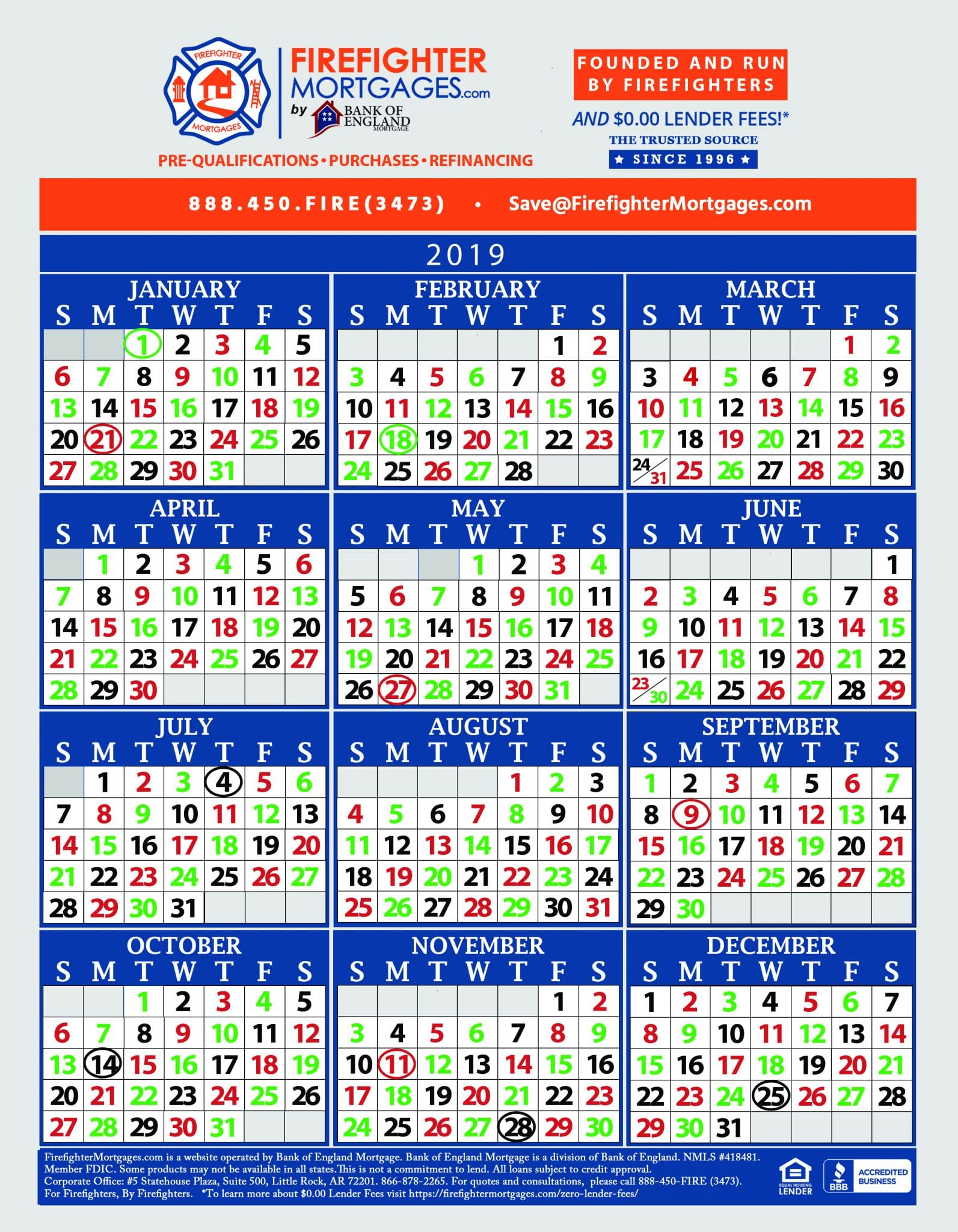 firefighter shift calendar  firefighter calendar  firefighter calendars